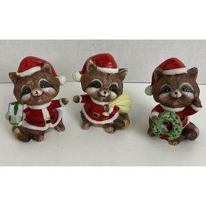 Vtg Homco Raccoons Christmas Santa Figurines